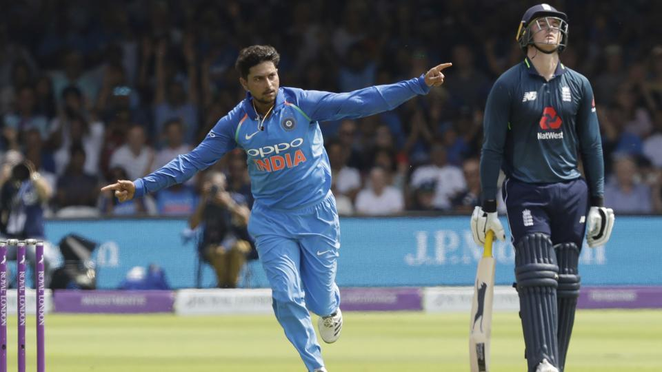 India's Kuldeep Yadav celebrates taking the wicket of England's Jonny Bairstow, not pictured, during the 2nd ODI at Lord's cricket ground in London.
