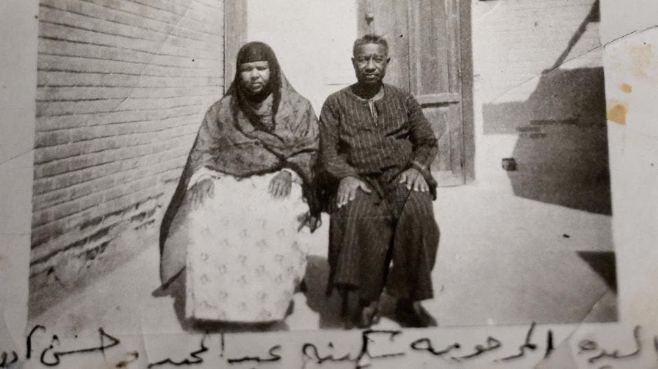 Late Sekyna Abdel Megeed and Hussein Oddoul before they were forced to leave their homeland. The government told the Nubians they were making a sacrifice for Egypt's progress. In return, authorities promised they would receive new, model homes with electricity, running water, farmlands and a prosperous future. (Nariman El-Mofty / AP)