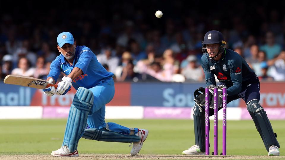 India's MS Dhoni in action against England in the second ODI.