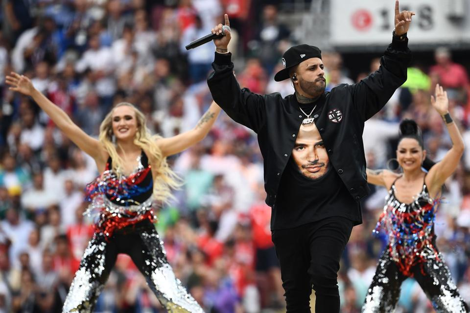 US singer Nicky Jam performs during the closing ceremony of the Russia 2018 World Cup ahead of the final football match between France and Croatia at the Luzhniki Stadium in Moscow. (AFP)