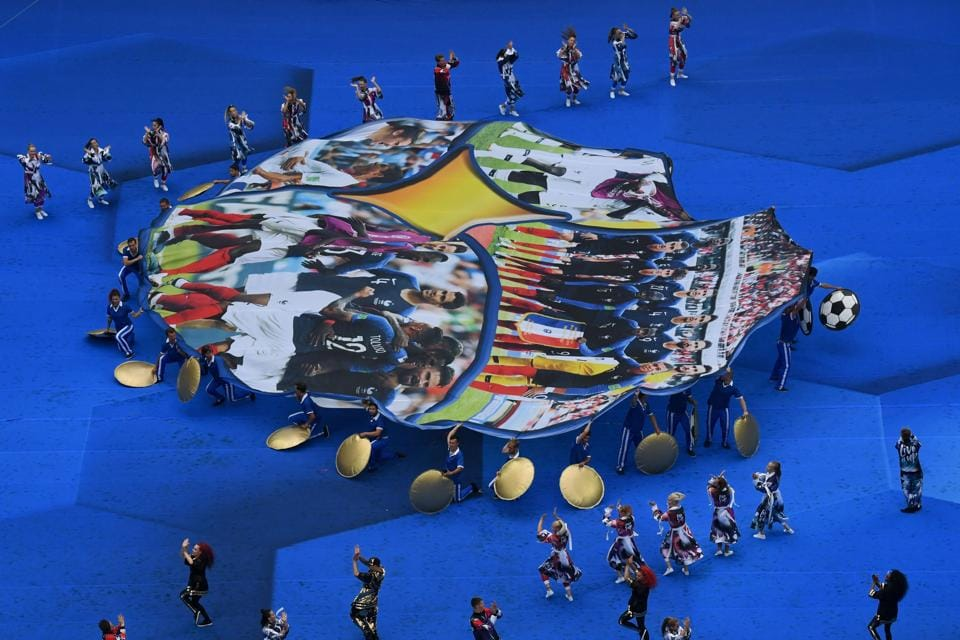 Dancers perform during the closing ceremony of the Russia 2018 World Cup ahead of the final football match between France and Croatia at the Luzhniki Stadium. (AFP)