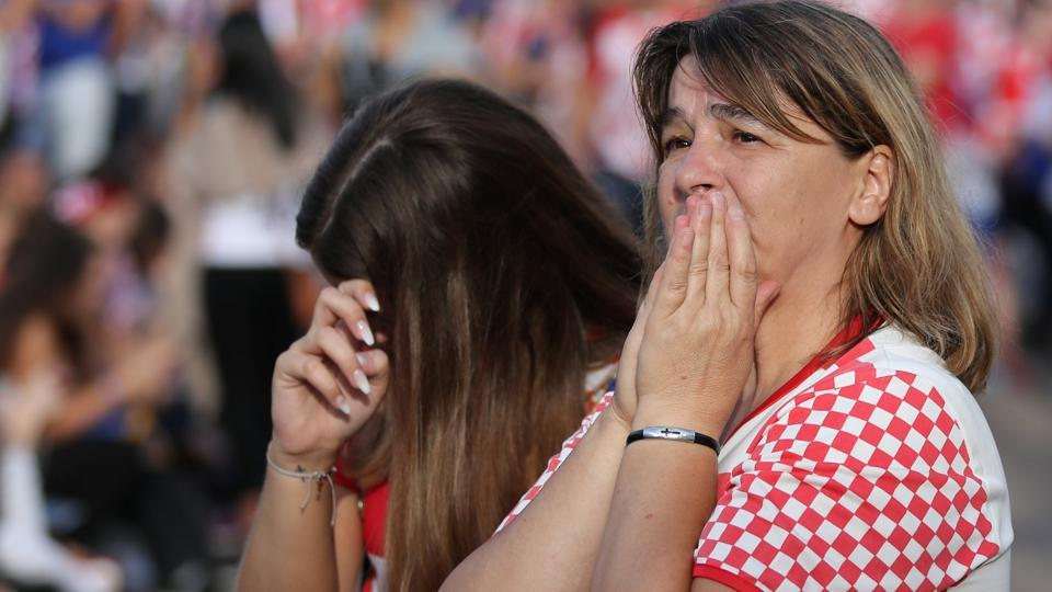Croatia's fans watch the broadcast of the match at the city's main square.