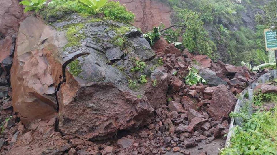 landslide,Sinhagad ghat,fort