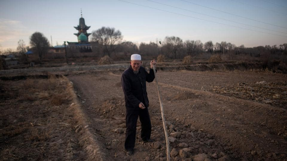 "A man works in his field in front of a mosque in the suburbs of Linxia. Another imam said the tense situation in Xinjiang was at the root of changes in Linxia. But many Hui are quick to distinguish themselves from Uighurs. ""They believe in Islam too, but they're violent and bloodthirsty. We're nothing like that,"" said Muslim hairdresser Ma Jiancai, 40, drawing on common stereotypes. (Johannes Eisele / AFP)"