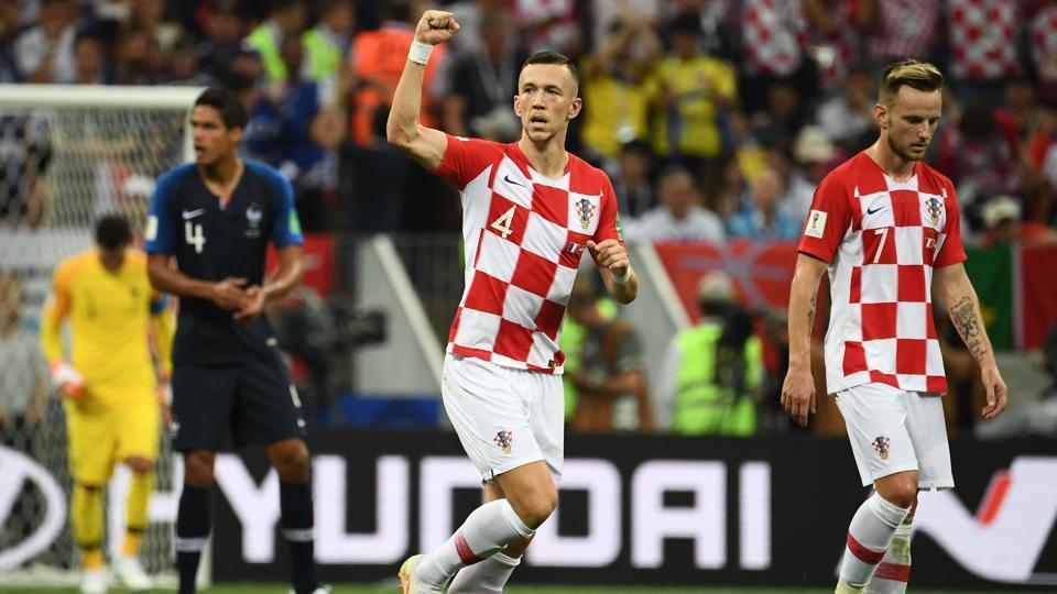 Croatia's forward Ivan Perisic celebrates after scoring the equaliser. (AFP)