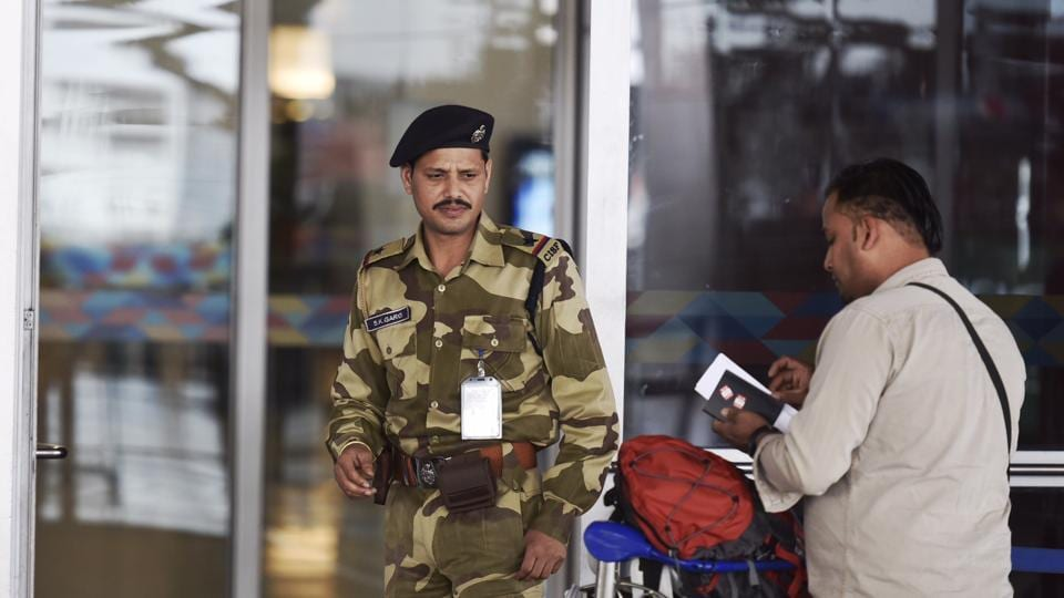 CISF security personnel during the security check at IGI Airport T3 in New Delhi.