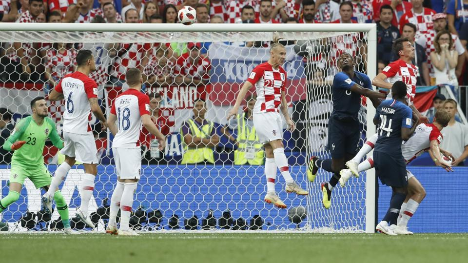 Croatia's Mario Mandzukic, 3rd from right, scores an own goal on a header. (AP)