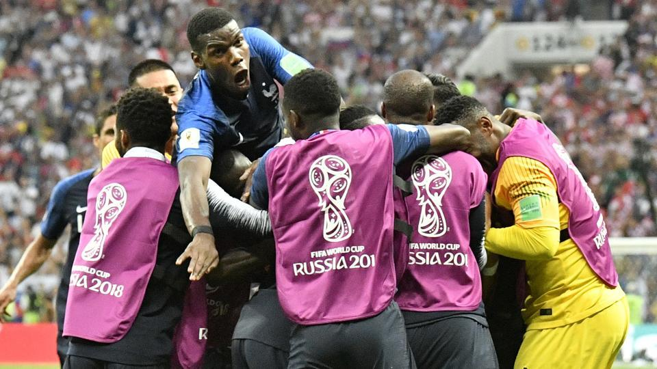 Paul Pogba made it 3-1 for France in the second half. (AP)