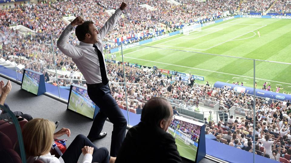 French President Emmanuel Macron reacts during the FIFA World Cup 2018 final.
