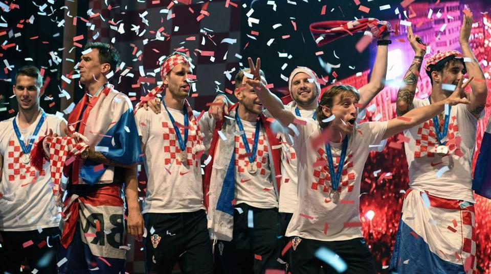 Croatian national football team players attend a welcoming ceremony from  the FIFAWorld Cup 2018 at the Bana Jelacica Square in Zagreb on July 16.