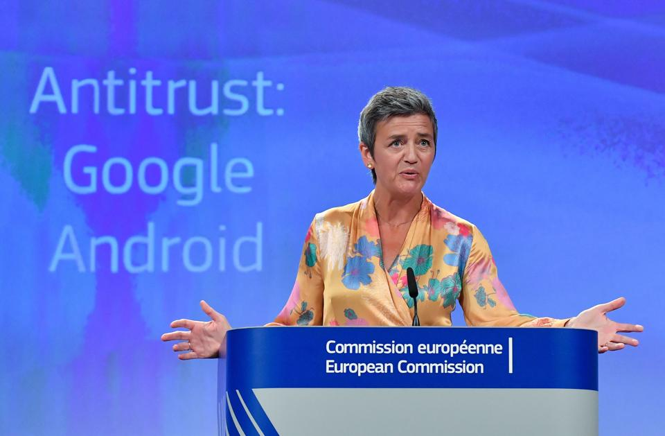European Union Competition Commissioner Margrethe Vestager gives a joint press at the EU headquarters in Brussels on July 18, 2018. The EU on July 18, 2018 gave Google 90 days to end