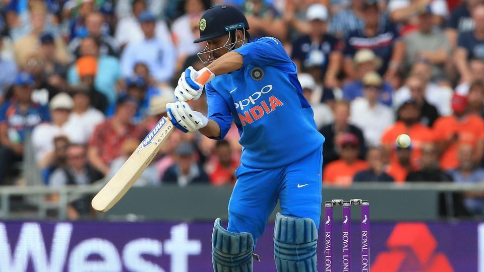 India's MS Dhoni reacts after playing a shot to be caught out by England's Jos Buttler for 42 runs during the third One Day International (ODI) cricket match. (AFP)