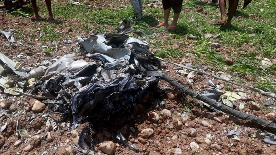 A MiG 21 fighter jet of the Indian Air Force crashed in Kangra district of Himachal Pradesh on Wednesday, killing the pilot, Squadron Leader Meet Kumar, the IAF said. The IAF has ordered a court of inquiry into the crash. (Shyam Sharma / HT Photo)