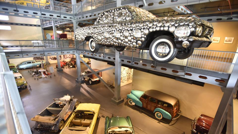Vintage cars displayed at the Transport museum in Gurugram. Opened in December 2013, on Bilaspur-Taoru Road. This is India's first and only comprehensive transport museum that has all modes of public and private transport vehicles. (Sanjeev Verma / HT Photo)