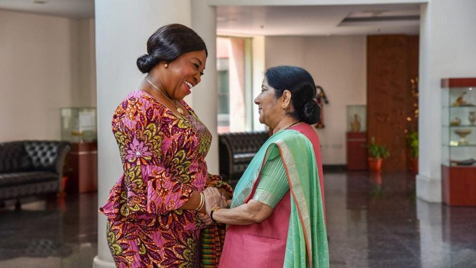 External Affairs Minister Sushma Swaraj greets her Ghanaian counterpart Shirley Ayorkor Botchway in New Delhi. (PTI)