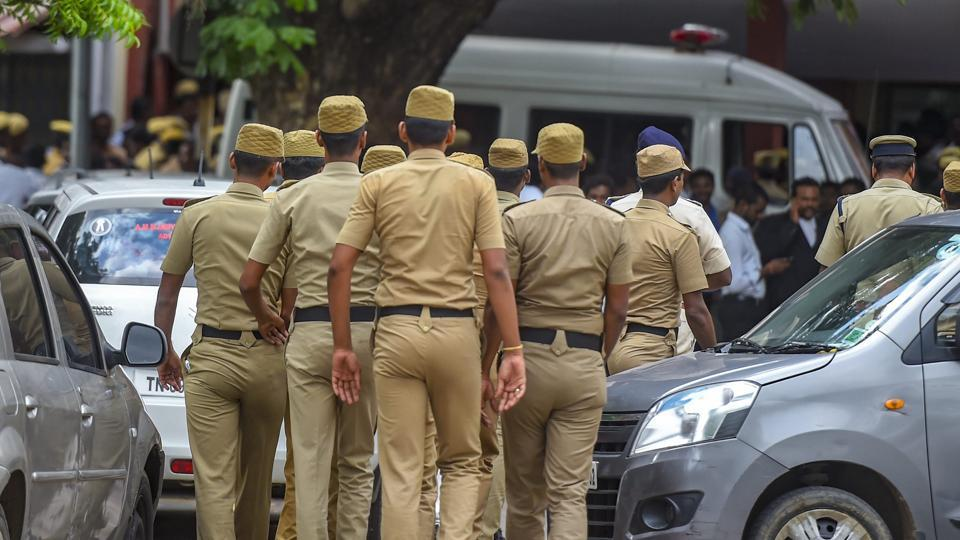 17 people accused in connection with the alleged sexual assault of a 11-year-old girl are produced at Madras High Court, in Chennai.