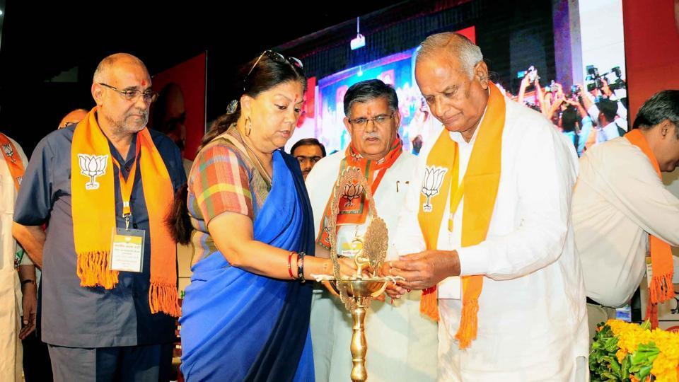 CM Vasundhara Raje and state party president Madanlal Saini inaugurate BJP's working committee meet at Totuka Bhawan in Jaipur on Friday.