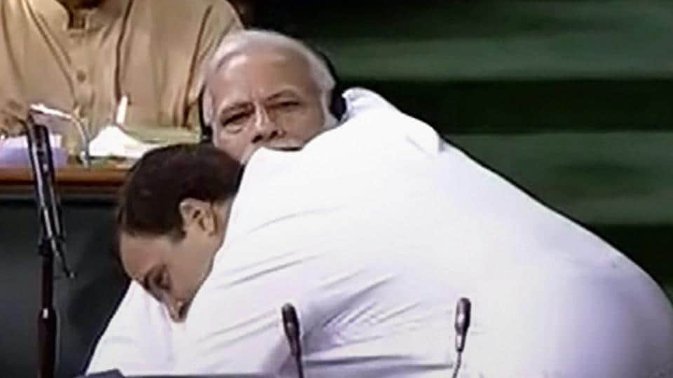 "Rahul Gandhi made an aggressive attack on the BJP-led central government during a debate on a no-confidence motion in the Lok Sabha today, peppering his hour-long speech with constant barbs at Prime Minister Narendra Modi, who, he alleged, ""cannot look me in the eye."" Gandhi after ending his speech walked over to the Prime Minister and hugged him. (LSTV Grab / PTI)"