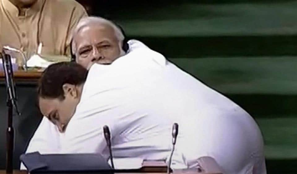 Congress Rahul Gandhi hugs PMNarendra Modi at the end of the his speech during the no-confidence motion debate in Lok Sabha on Friday.