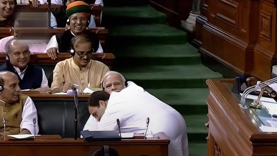 Rahul Gandhi,Narendra Modi,Rahul Gandhi hugs Modi