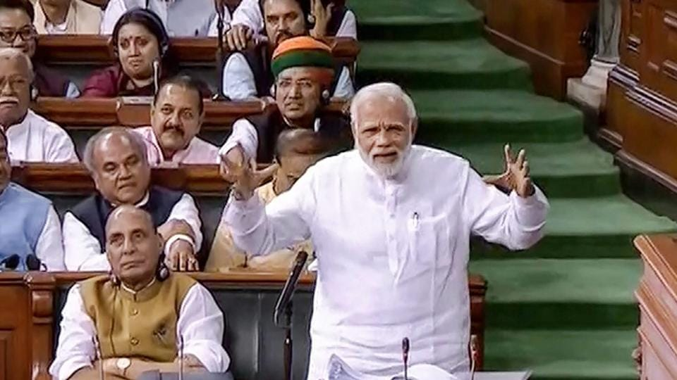 Prime Minister Narendra Modi speaks in the Lok Sabha on no-confidence motion during the Monsoon Session of Parliament, in New Delhi on Friday.