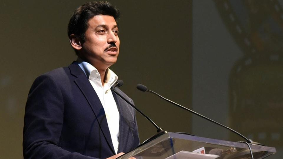 New Delhi: Union MoS Information and Broadcasting Rajyavardhan Singh Rathore addresses at the opening ceremony of the European Union Film Festival 2018, in New Delhi on June 18, 2018.