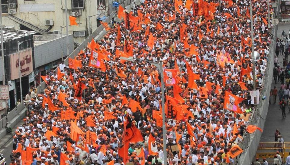 The Marathas' silent rally in Mumbai in August 2017.