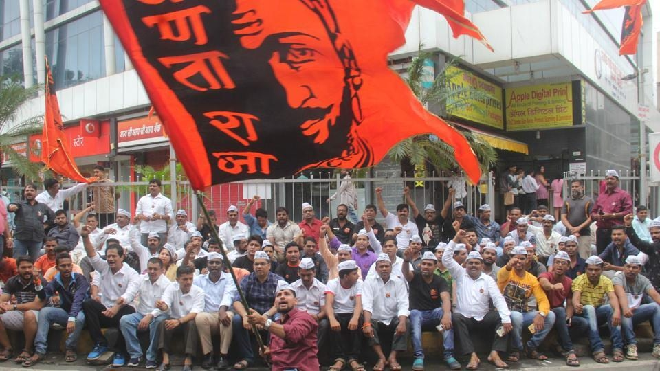 Maratha Kranti Morcha activists stage protest at Mumbai's Lalbaug on July 22, 2018, demanding reservations for Maratha community in education and government job.A