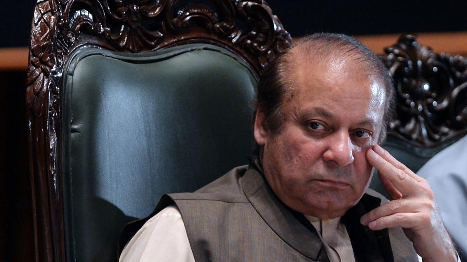 Ousted Pakistani prime minister Nawaz Sharif looks on as he attends a seminar in Islamabad.