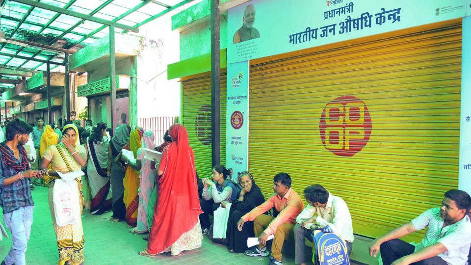 Patients outside the drug distribution centre at SMS hospital in Jaipur.