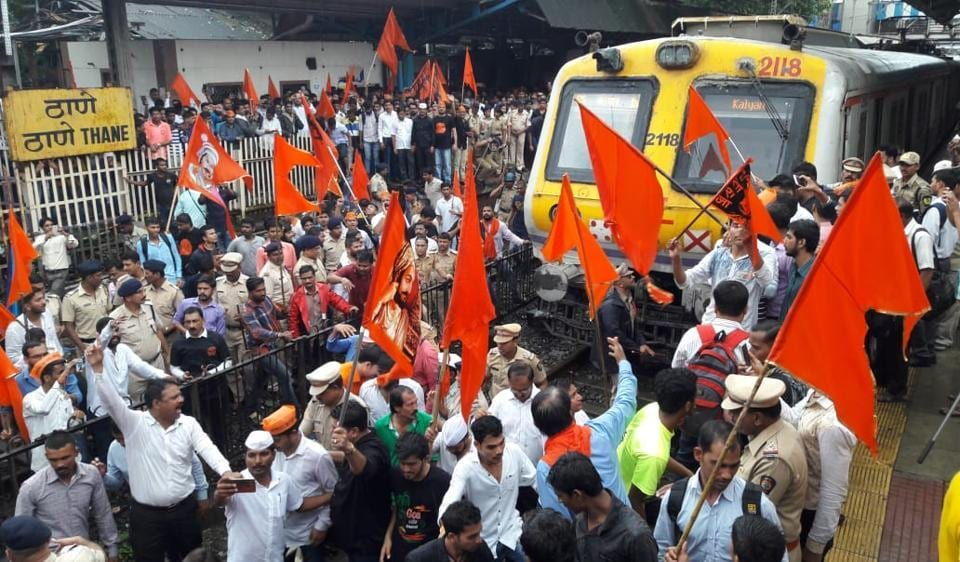 Hundreds of protesters staged a rail roko on platforms number 2 and 5 at Thane station on Wednesday morning.
