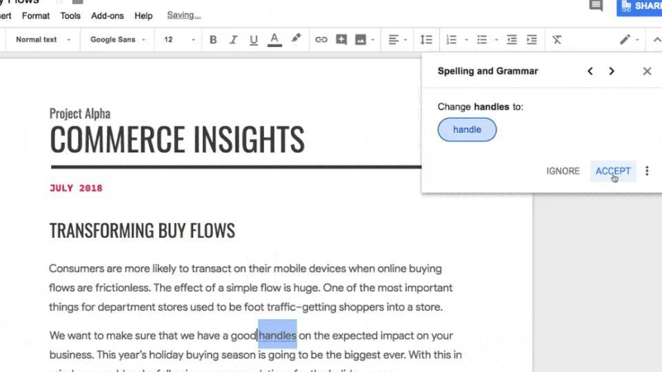 Google Docs will now correct your grammar, spelling mistakes