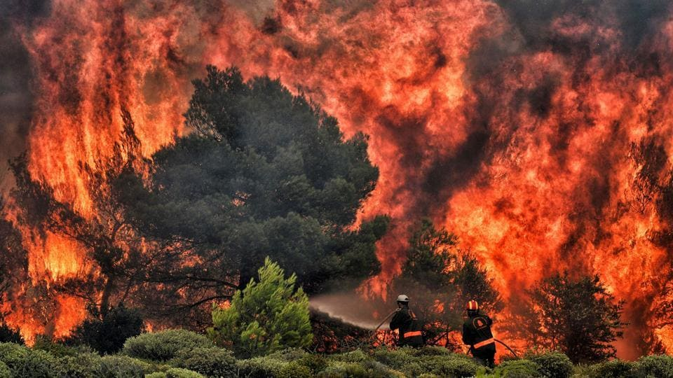 Firefighters try to extinguish flames during a wildfire in the village of Kineta near Athens. Greece is in mourning, following some of the worst wildfires this century, with fears that the toll -- at least 74 dead and 187 injured so far -- may rise as rescuers search for people trapped in their homes or burnt cars. (Valerie Gache / AFP)