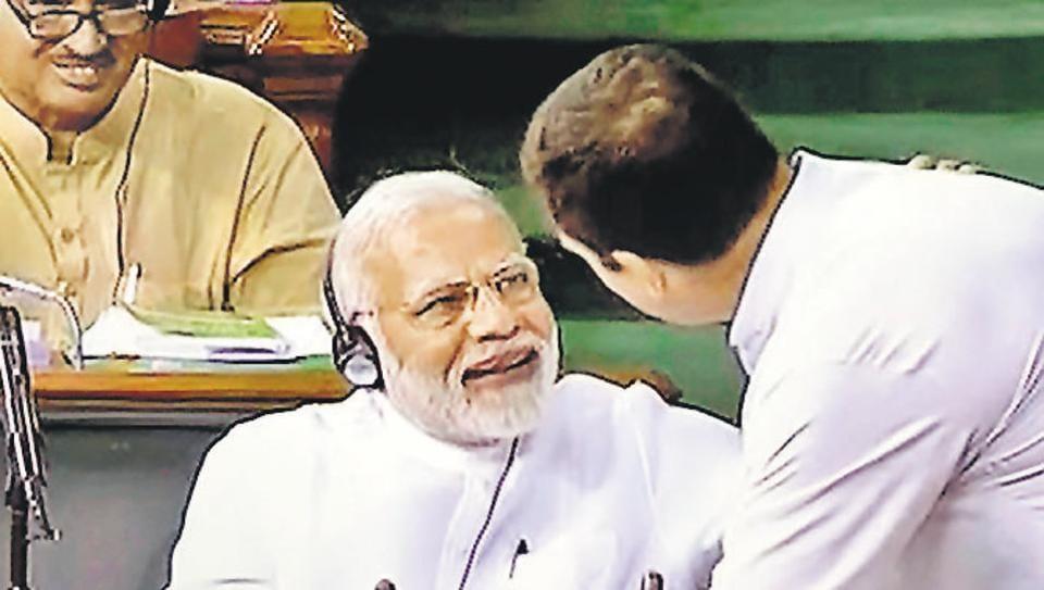 Prime Minister Narendra Modi and Congress president Rahul Gandhi in Lok Sabha, July 20