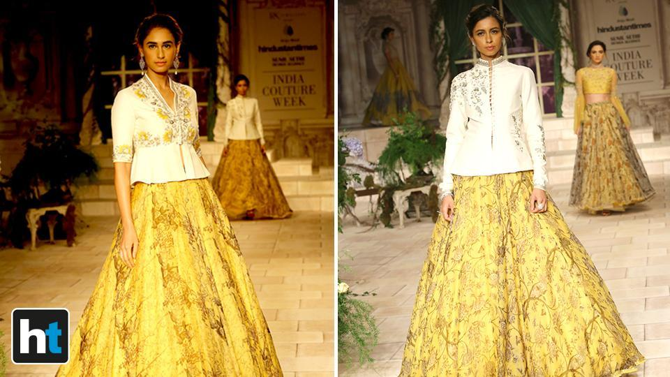 Large puffed sleeves, flowy gowns, printed lehengas paired with muted blouse were some of the highlights of her collection.  (Raajessh Kashyap/HT Photo)