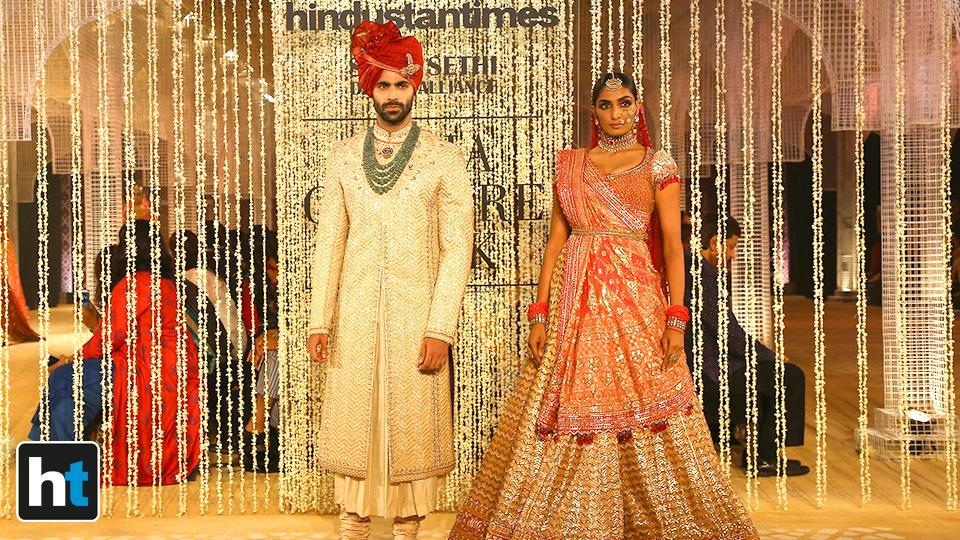 His collection included detailed applique on the panel of bridal and cocktail lehengas, concept saris, gowns, jackets, and modern saris layered in multi-dimensional detailing. (Raajessh Kashyap/HT Photo)