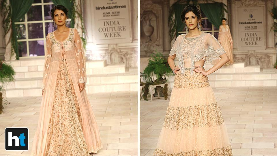 With her collection for the India Couture Week 2018, Modi has tried to pay homage to the Victorian era through cuts, silhouettes and designs. (Raajessh Kashyap/HT Photo)
