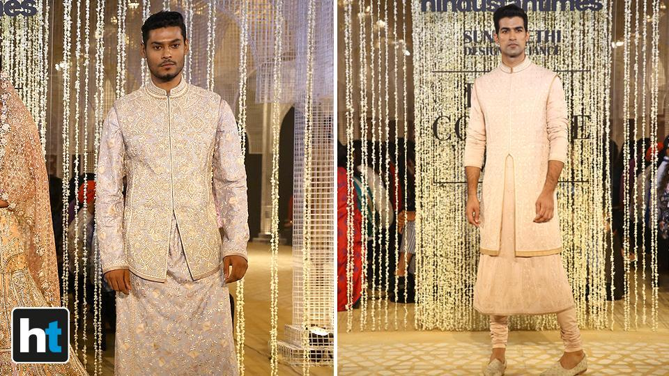 Tahiliani's collection also included men's groom wear.  (Raajessh Kashyap/HT Photo)