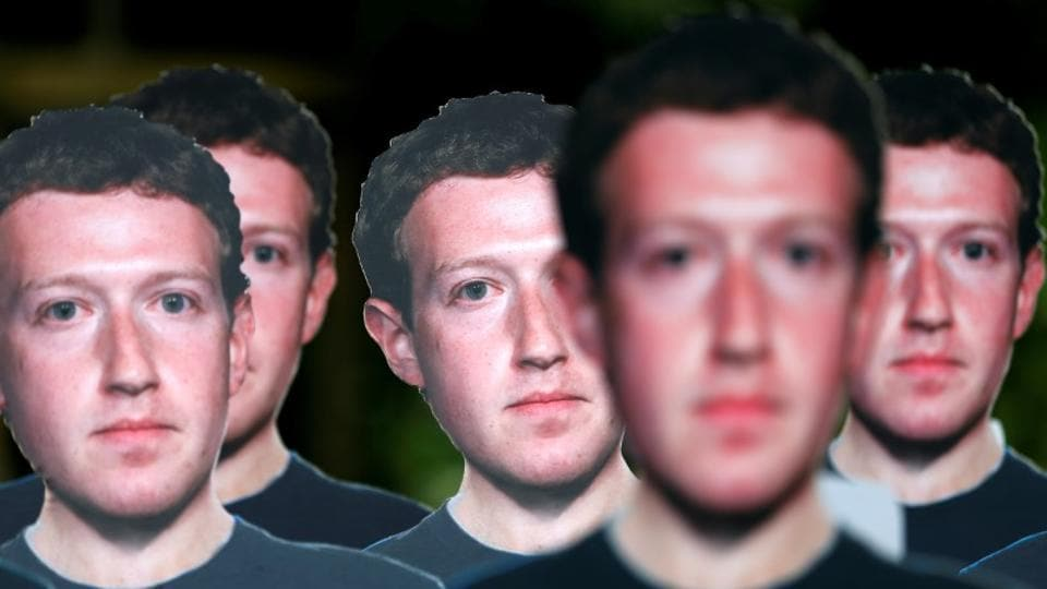 Cardboard cutouts depicting Facebook CEO Mark Zuckerberg are pictured during a demonstration ahead of a meeting between Zuckerberg and leaders of the European Parliament in Brussels, Belgium.