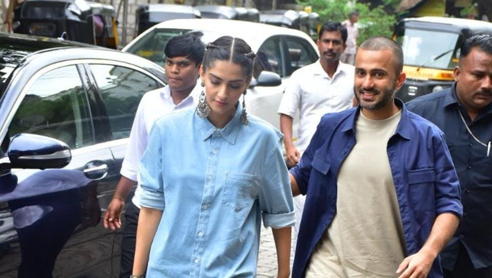 Sonam Kapoor and Anand Ahuja at their new store Pooja in Bandra.