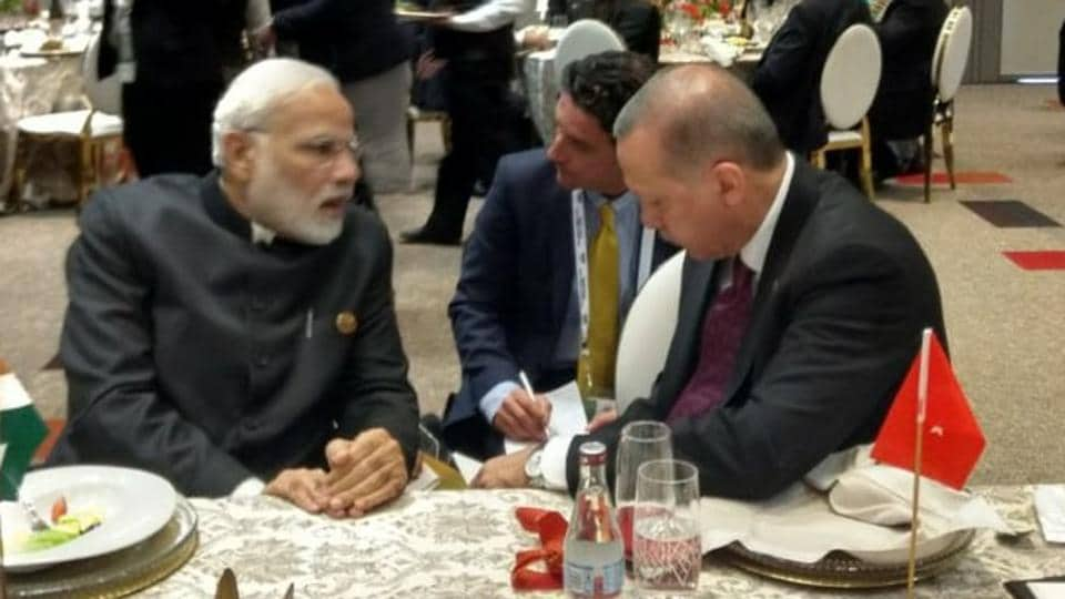 Prime Minister Narendra Modi on Friday met Turkish President Recep Tayyip Erdogan on the sidelines of the BRICS Summit in Johannesburg and congratulated him on his re-election.