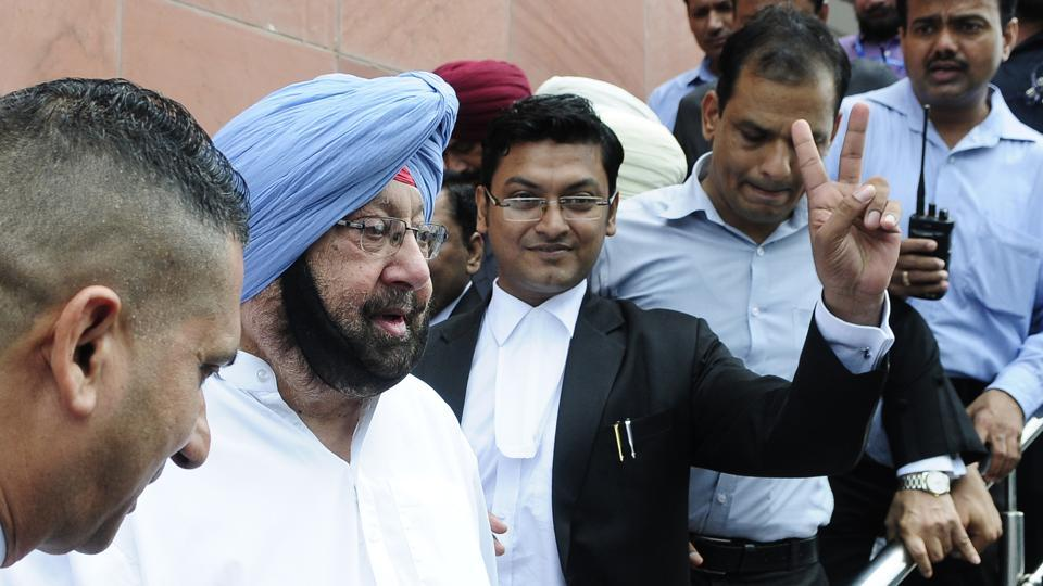 Punjab chief minister Capt Amarinder Singh appears in Mohali district court in Amritsar Improvement Trust case on Friday.