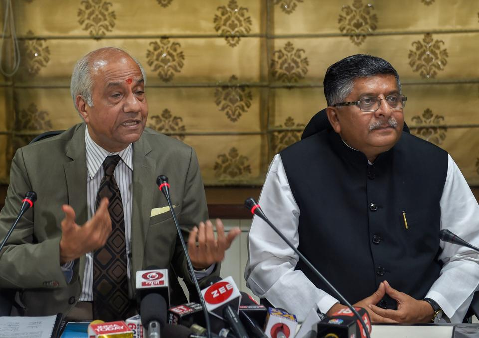Justice B N Srikrishna and Union minister of electronics and information technology Ravi Shankar Prasad address the media after submitting the report on 'Data Protection Framework', July 27, 2018. One of its recommendations is to mandatorily store a copy of all personal data on servers located in India.