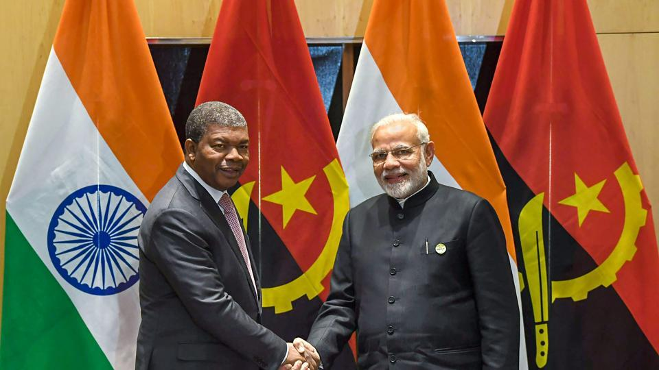 Prime Minister Narendra Modi shakes hand with Angolan President João Lourenço during a bilateral meeting on the sidelines of BRICS Summit in Johannesburg on July 26, 2018.