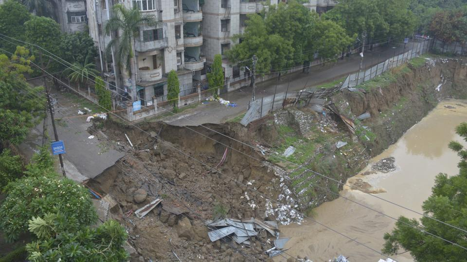 A major portion of a road caved at Vasundhara in Ghaziabad.