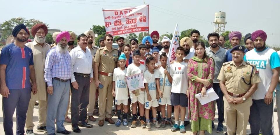 Participants during a relay run organised by Ludhina District Administration to make Punjab a drug free state, June 20, 2018