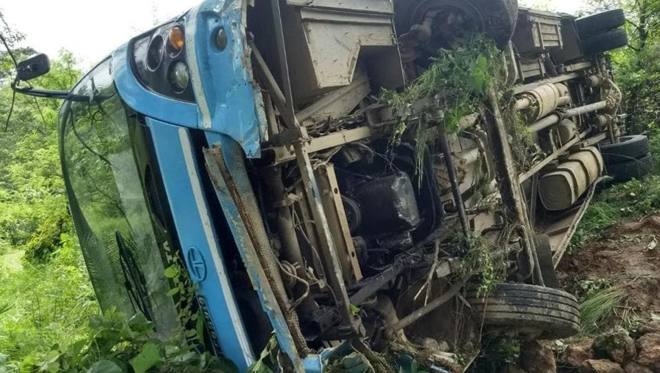 The HRTC bus skidded off the road and plunged into a gorge near Chadhiar in Jaisinghpur sub-division of Kangra district in Himachal Pradesh on Saturday.