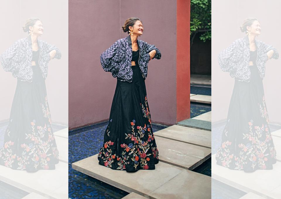 Here's how you can pair couture with high-street fashion stylishly. (Location courtesy: The Roseate, New Delhi, Make-up and hair: Leeview Biswas,Styling assistant: Riya Dhankar)