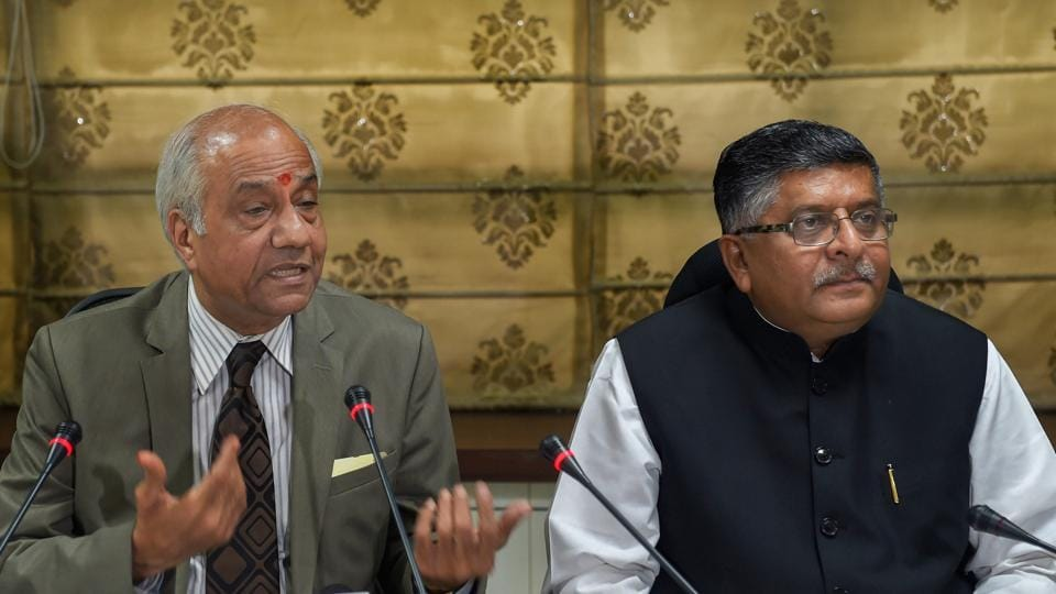 Justice B N Srikrishna addresses the media after submitting a report on 'Data Protection Framework' to law minister Ravi Shankar Prasad, in New Delhi July 27.