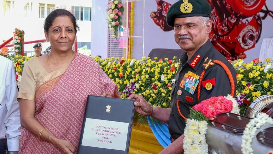 Defence minister Nirmala Sitharaman formally hands over two types of indigenously built high-power multi-fuel engines to the Indian Army, in Chennai on Saturday.